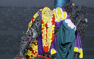 Title_ Mangbetu, Size_ 200 cm x 200 cm, Medium_ Acrylic and oil on canvas, Kinshasa, 2014